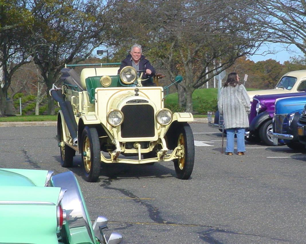 Philip Huntington arriving in his 1923 Brockway fire engine