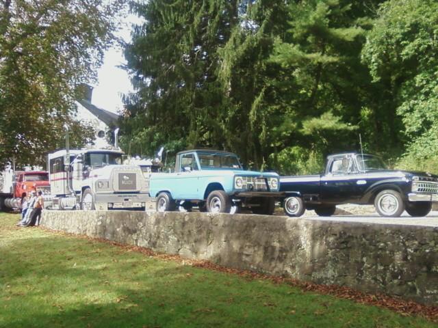 Member's trucks at the Joseph Lloyd Manor