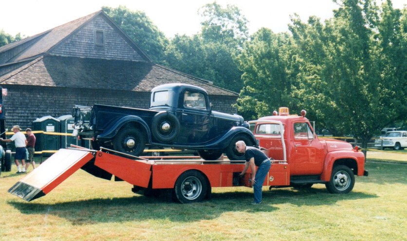 Floyd Chivvis unloading his 36 Ford