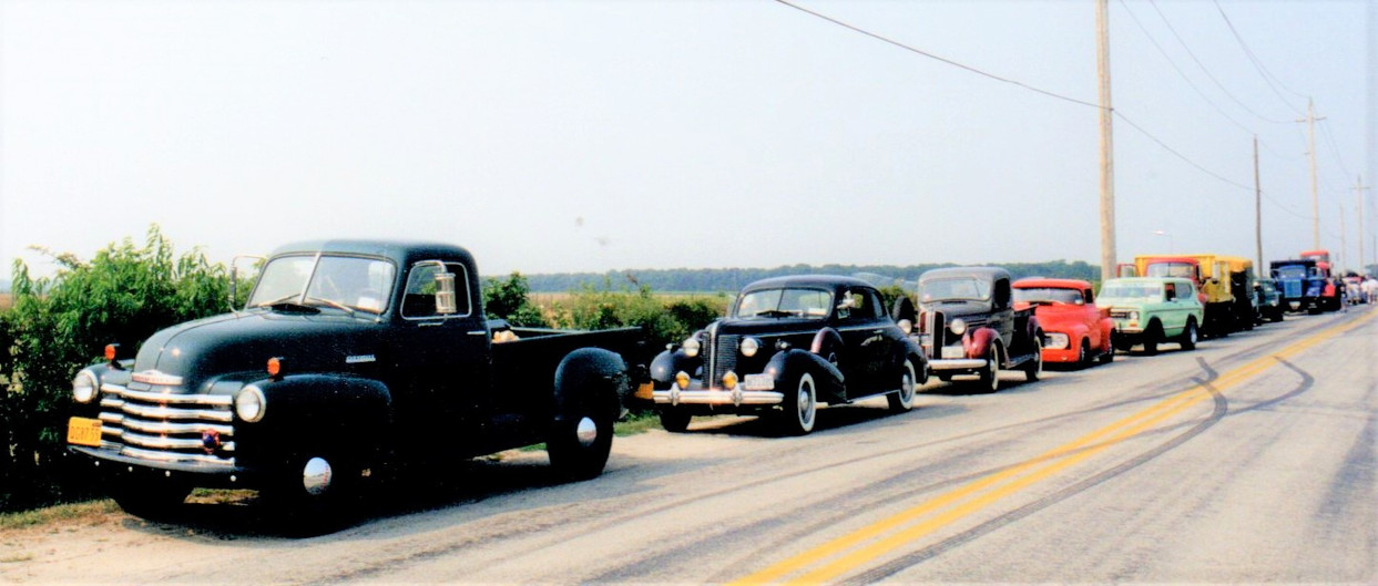 Trucks & cars lined up for 1st Annual Truck Run