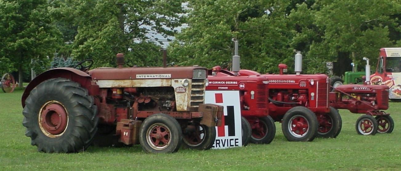 Line up of International tractors