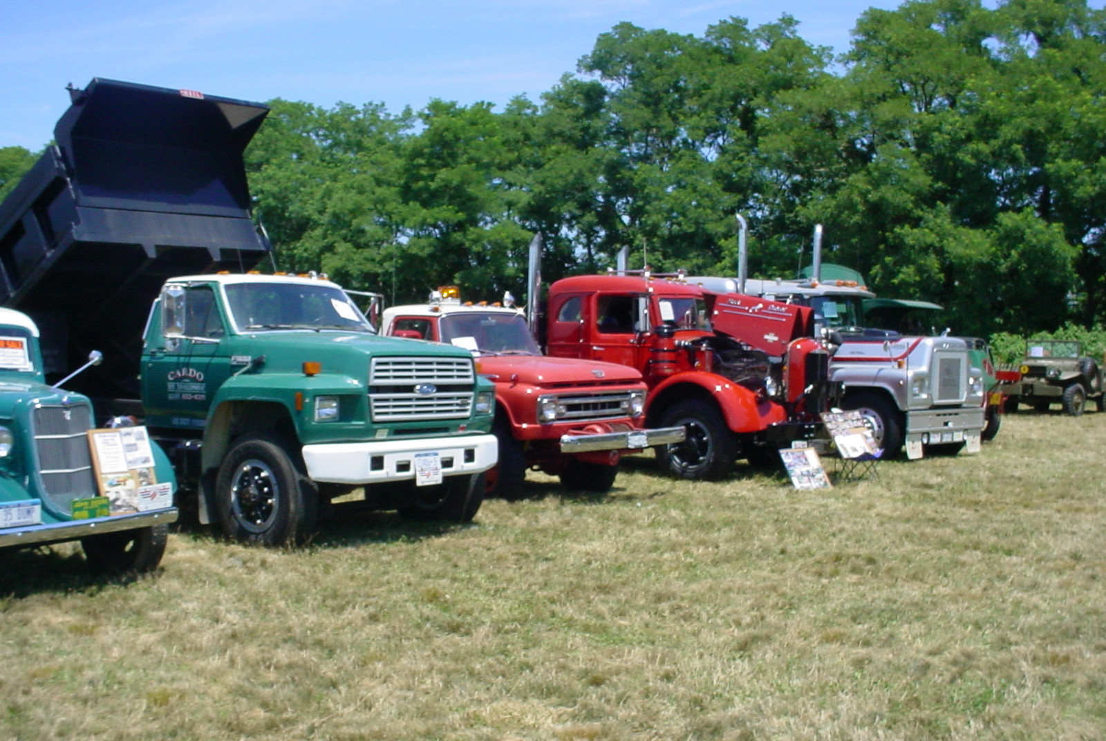 Line up of show trucks