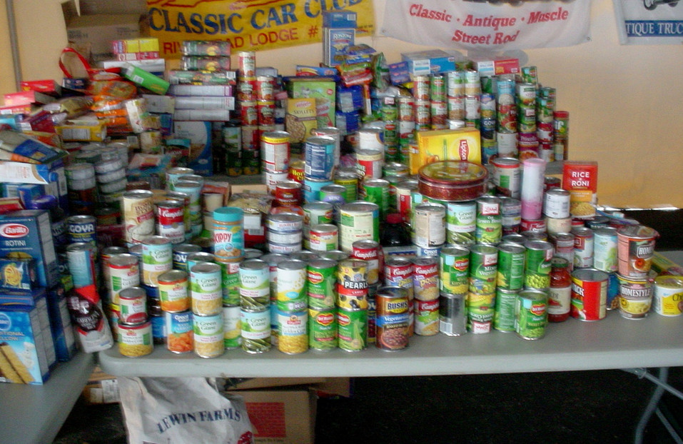 A portion of the food collected for the needy