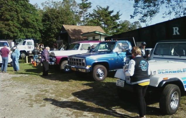 L to R: Joe Disanti's 1961 GMC K-1500 Suburban, George Erb's 1981 GMC 3500 Sierra flatbed, & Philip Huntington's 1984 Jeep CJ-8 Scrambler pickup