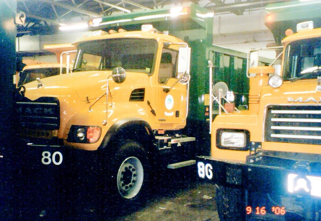 2007 Mack Granite CV713 and 2000 Mack RD690S dual axle dumps.