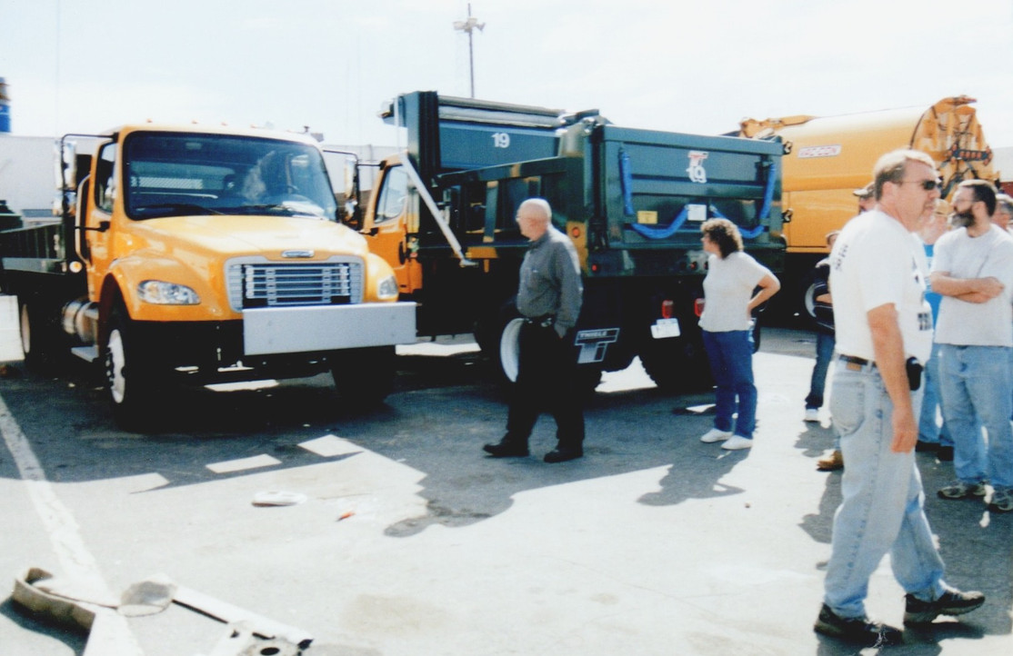 Members viewing some of the new Freightliner trucks.