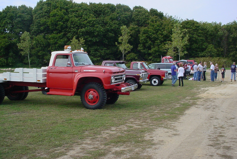 Member's trucks lined up for the run