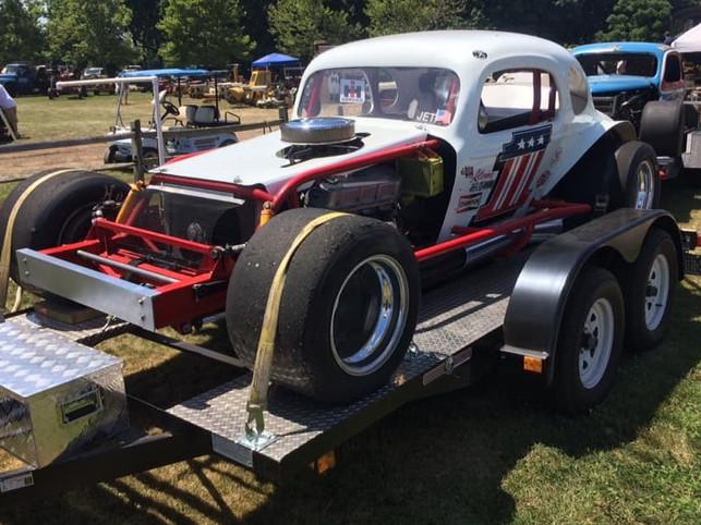 Old race car on display