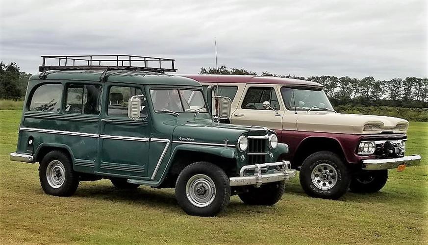 1955 Jeep station wagon & Joe Disanti's 1961 GMC Suburban