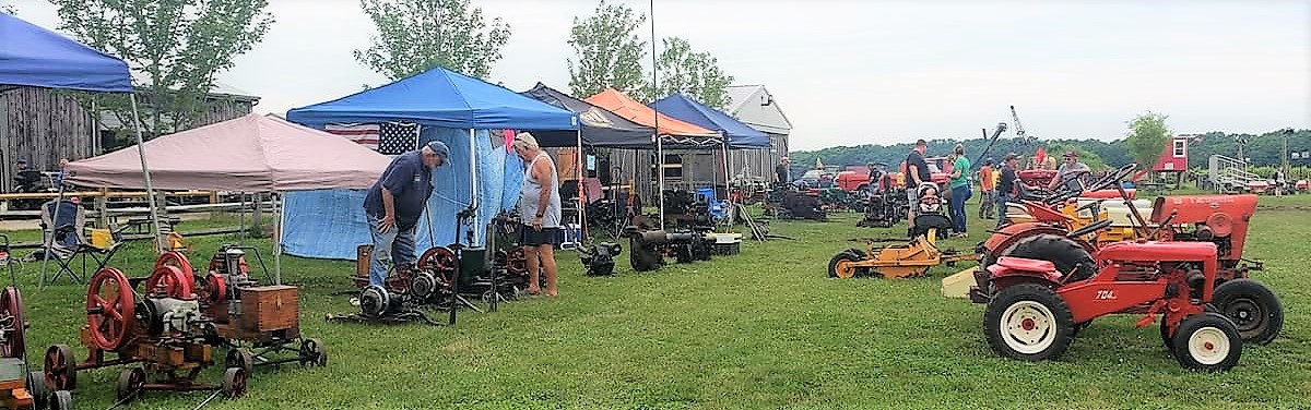Rows of stationary engines and garden tractors