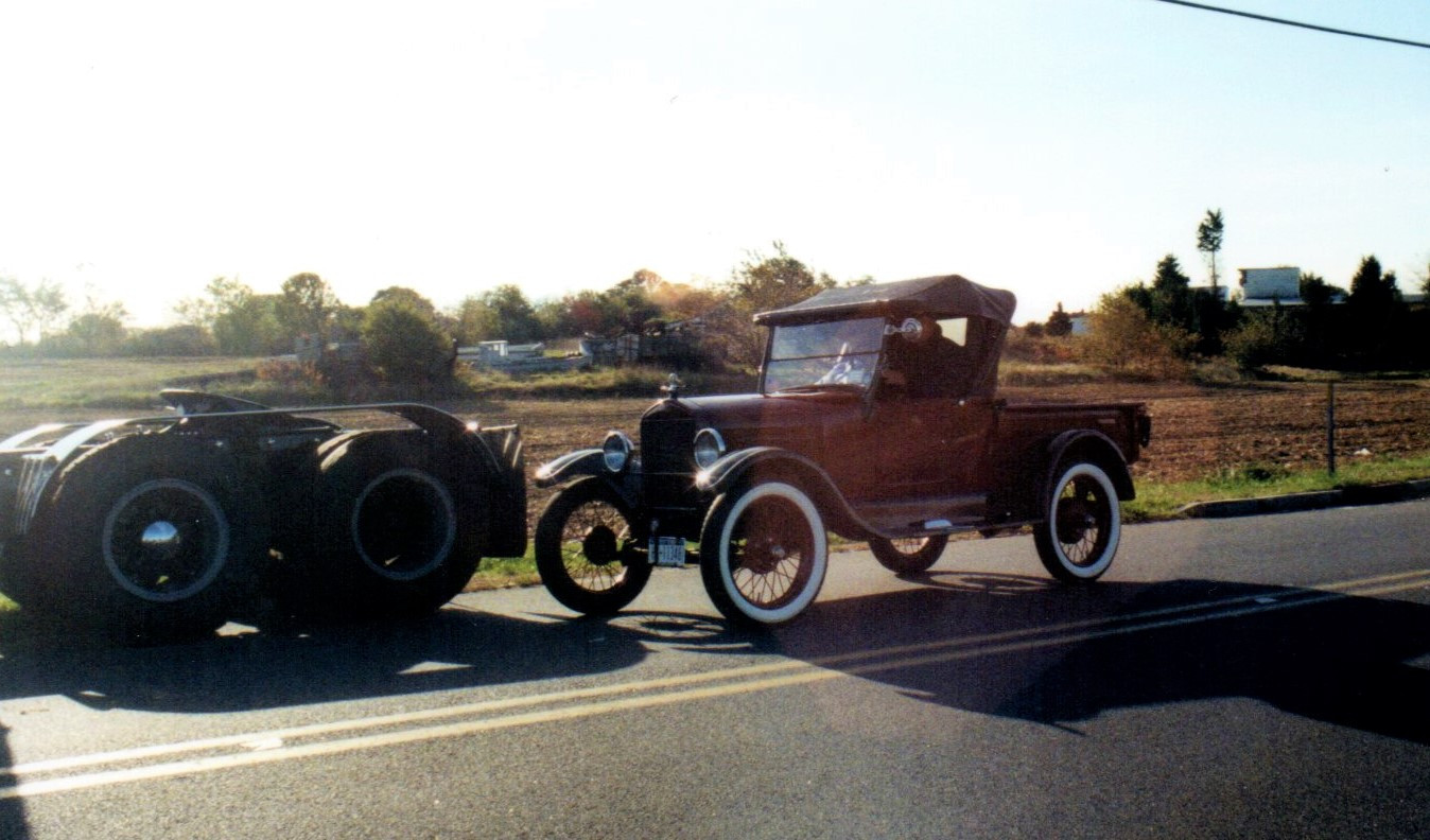 Joe Tavernese arriving in his 1926 Ford