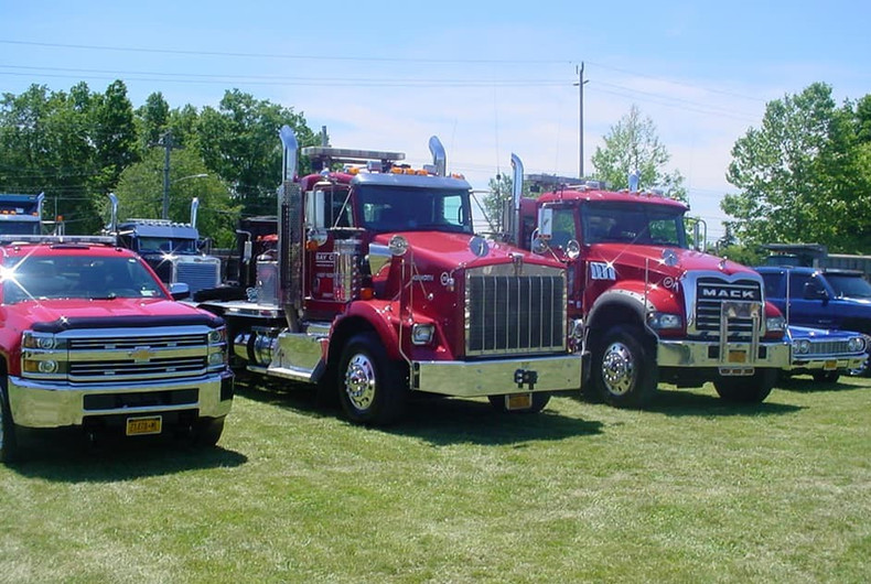 Company trucks on display