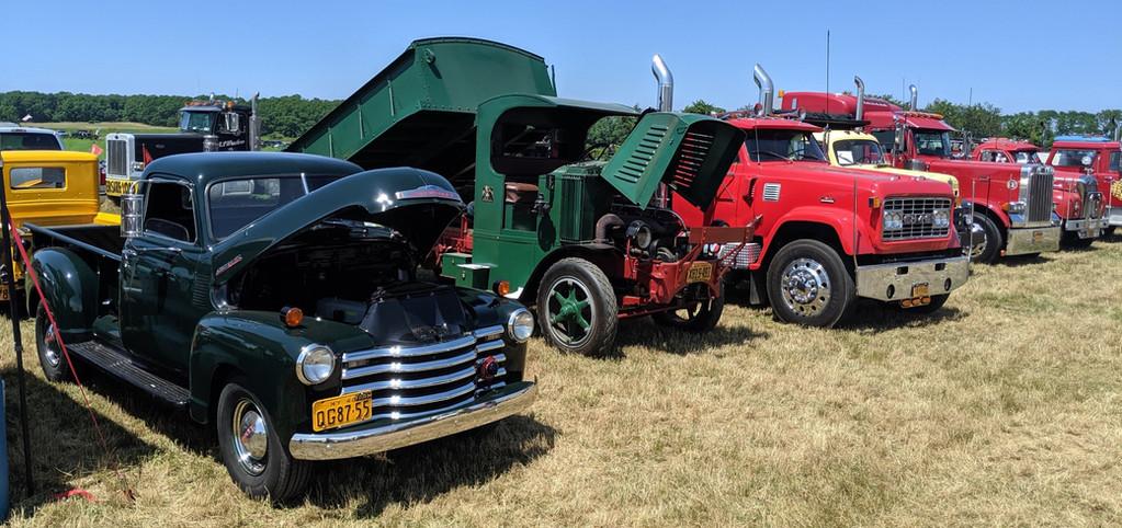 Trucks on the show field on Saturday