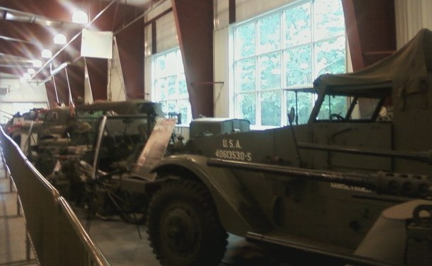 Military vehicles inside museum