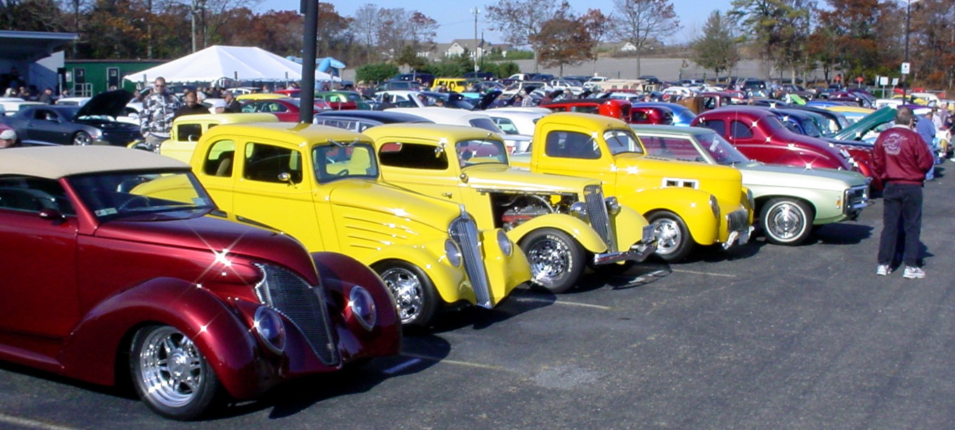 Lineup of street rods