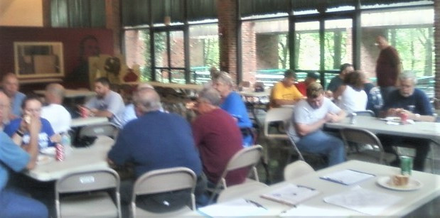 Members having lunch at second stop - Old Bethpage Village Restoration
