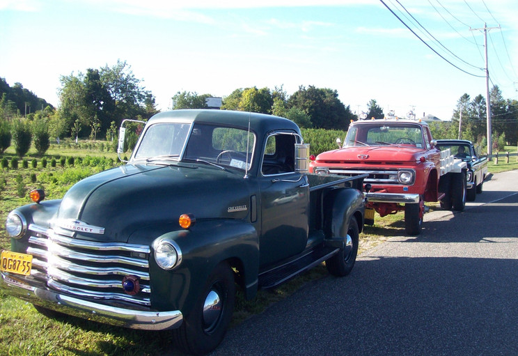 Member's trucks lined up at start of the run