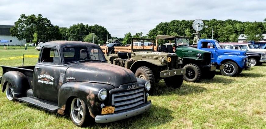 Lineup of show trucks