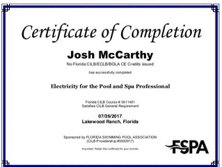 Josh McCarthy completes Electricity for Pool Professional Course