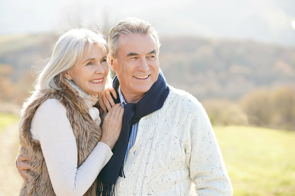 Portrait of cheerful senior couple enjoy