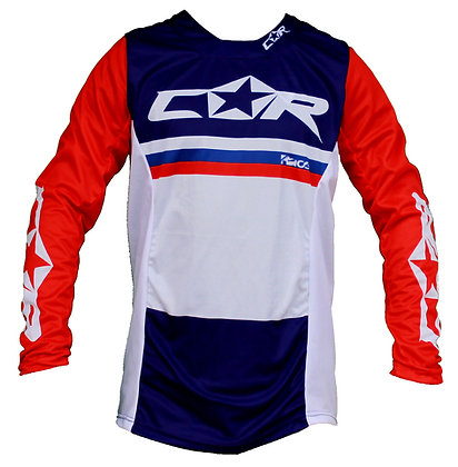 Maillot RACE bleu / blanc / rouge