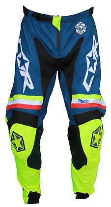 Pantalon RACE jaune fluo / bleu pétrole