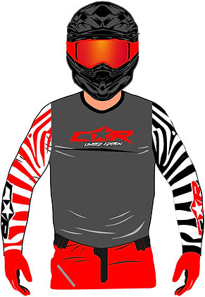 Maillot ZEBRA gris anthracite / rouge / blanc
