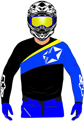 Maillot STAR noir / bleu electric / jaune