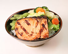 Grilled Salmon and Veggie Rice Bowl