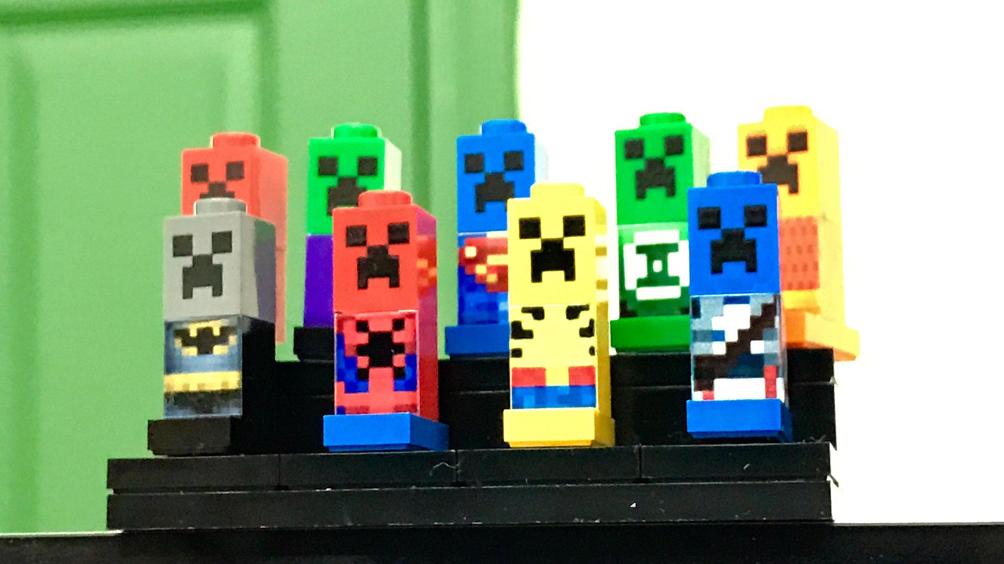 9x CreeperForce Customized print on LEGO brick - Micro World - Minecraft