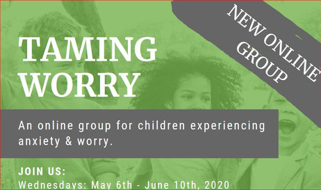 Taming Worry online group for 7 - 10 year olds  on May 6th - June 10th, 2020, 6-7 pm