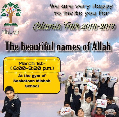 Islamic Fair 2018-2019, Parents attending on March 1th, 6-8:20 pm