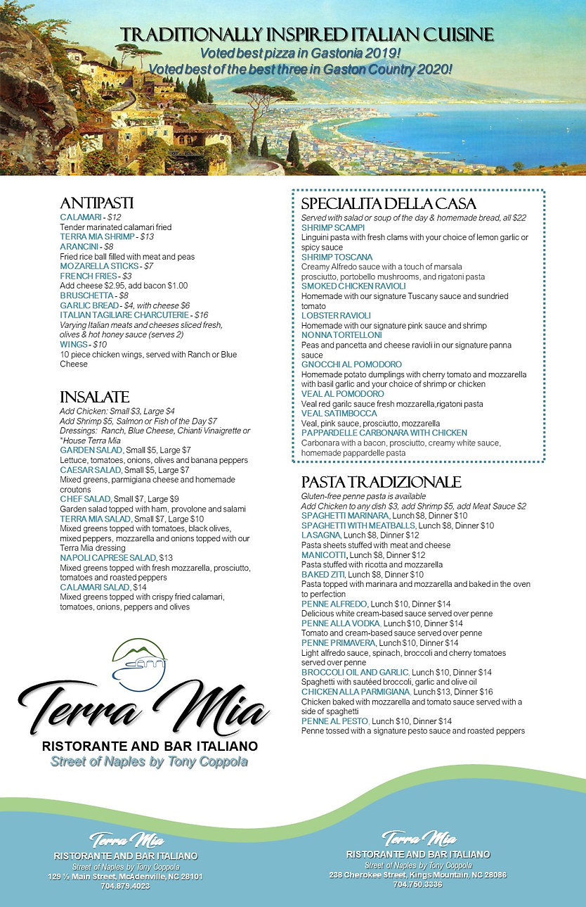 Terra Mia Menu, MASTER MENU FOR TWO LOCA