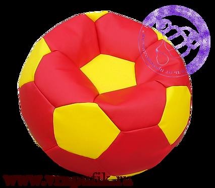 Кресло мяч искусственная кожа красный с желтым