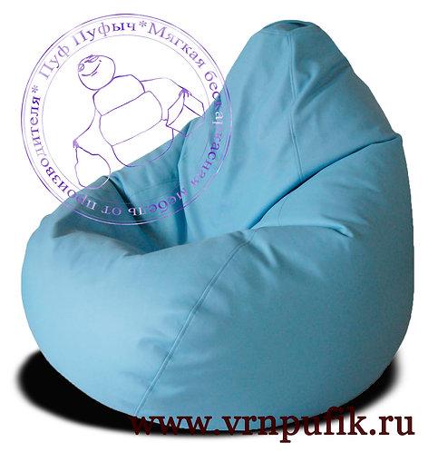 Кресло-груша экокожа голубое