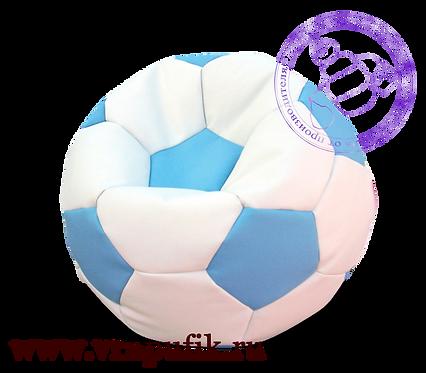 Кресло мяч искусственная кожа белый с голубым