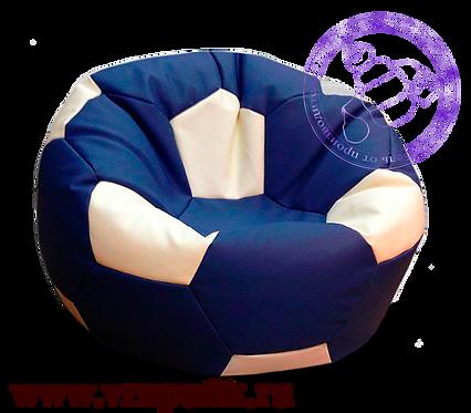 Кресло мяч искусственная кожа синий с белым