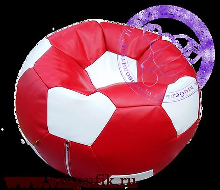 Кресло мяч искусственная кожа красный с белым