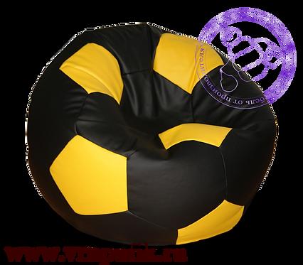 Кресло мяч искусственная кожа черный с желтым