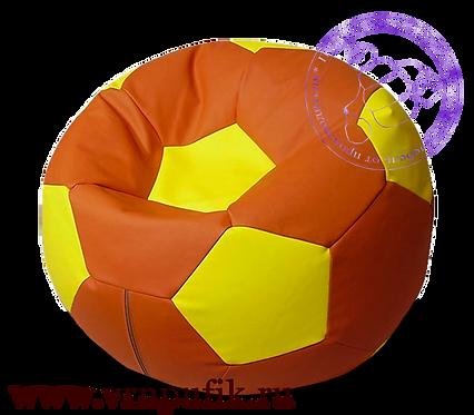 Кресло мяч искусственная кожа коричневый с желтым