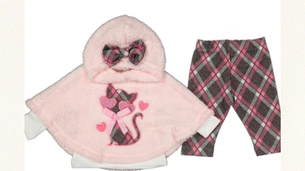 Teddy - Fleece Umhang mit Sweat und Hose 3- Pcs Set