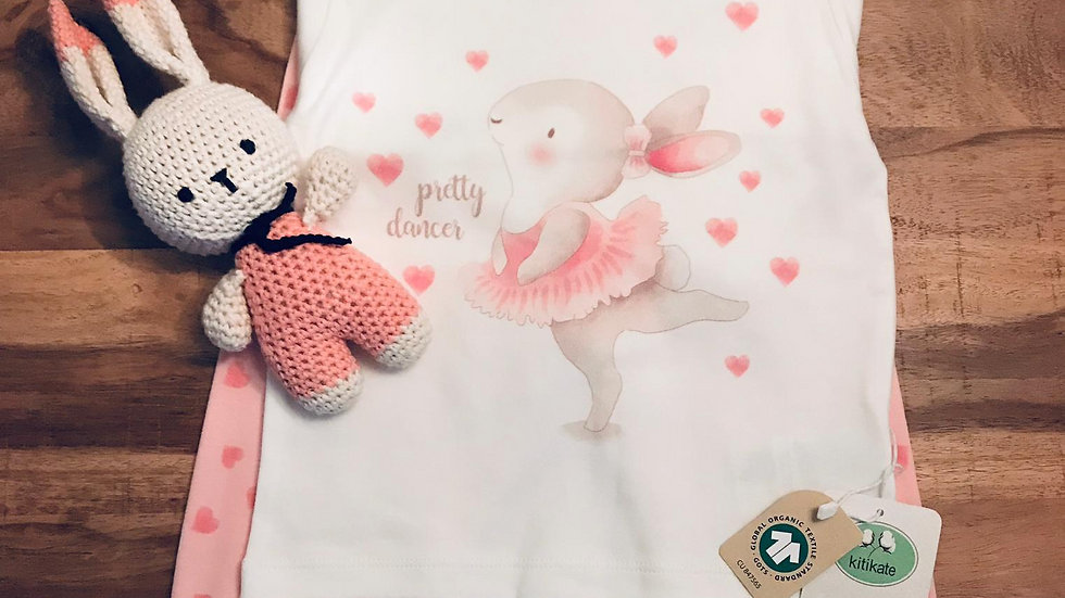 Pretty Dancer Girl Pyjamas - ecru - pink