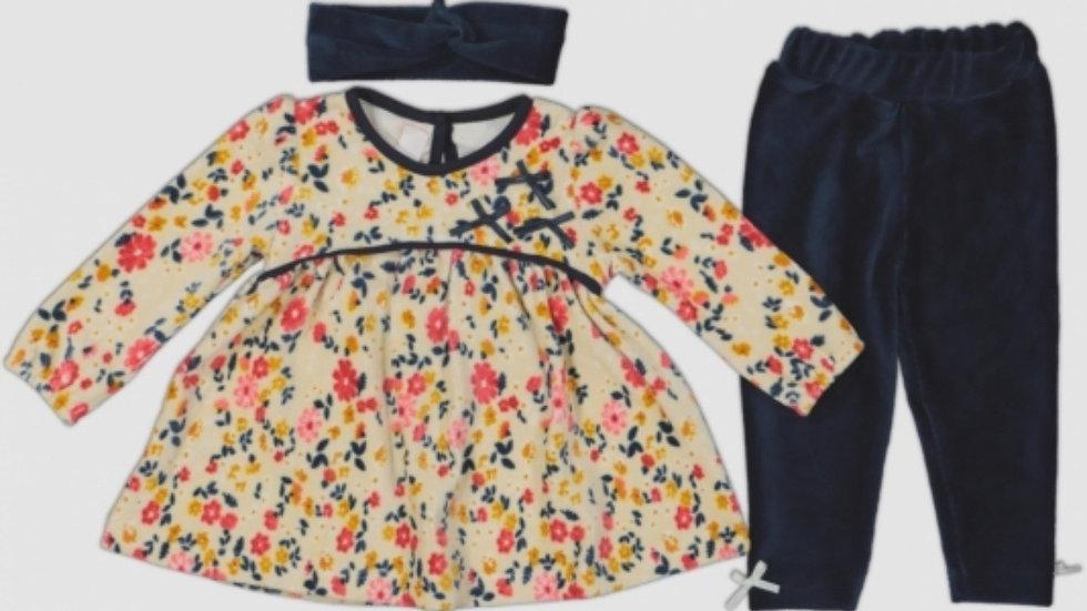 Kleidchen mit Hose & Schleife / 3- Pcs Set