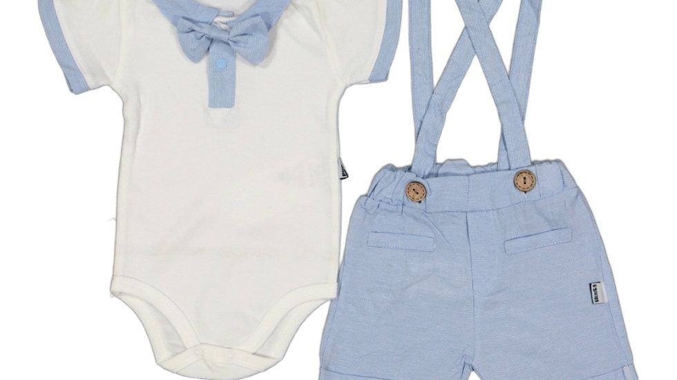 Tshirt mit Fliege und Latzhose - hellblau