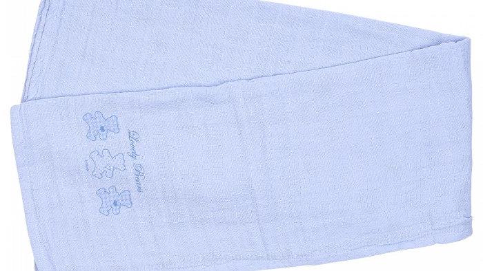 Muslin Blanket 3 Bear - blue - pink