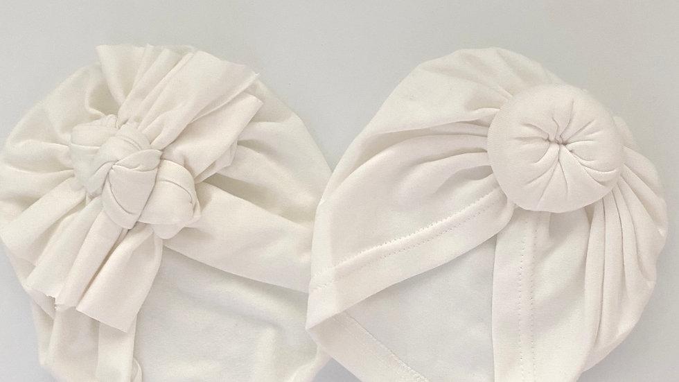 Turban mit 3 Knoten - weiss