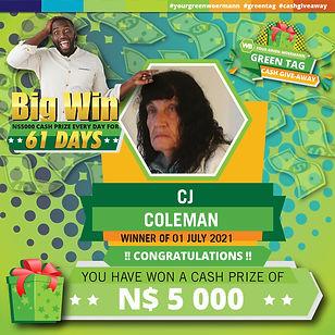 30 06  - 06 07 2021 Saarty Iambo Green Tag Winner Announcement 5000_CJ Coleman.jpg