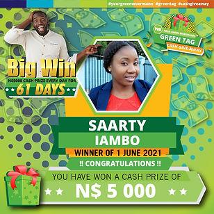 01 06 2021 Saarty Iambo Green Tag Winner