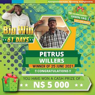 23 - 29 June 2021 Green Tag Winners Announcement Blocks 5000_Petrus Willers 25 June 2021.j