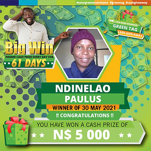 30 05 2021 Ndinelao Green Tag Winner Ann